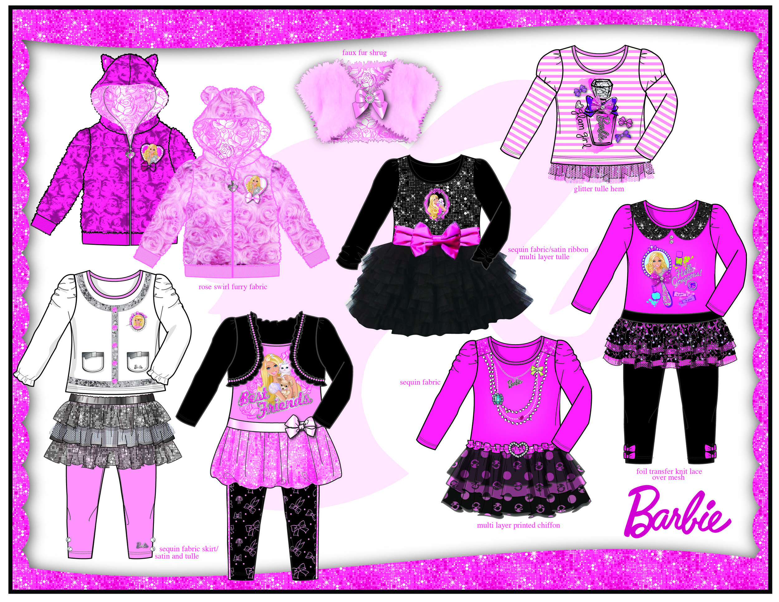 Bentex. Barbie. Bling Line Sheet Page 1.
