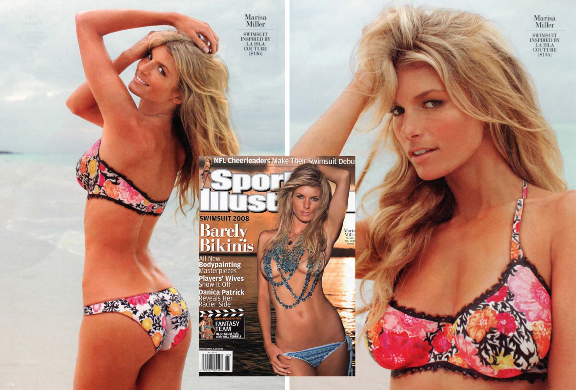 Sport's Illustrated Swimsuit Issue. La Isla. New Floral Print Bikini as seen painted directly onto cover model Marissa Miller.