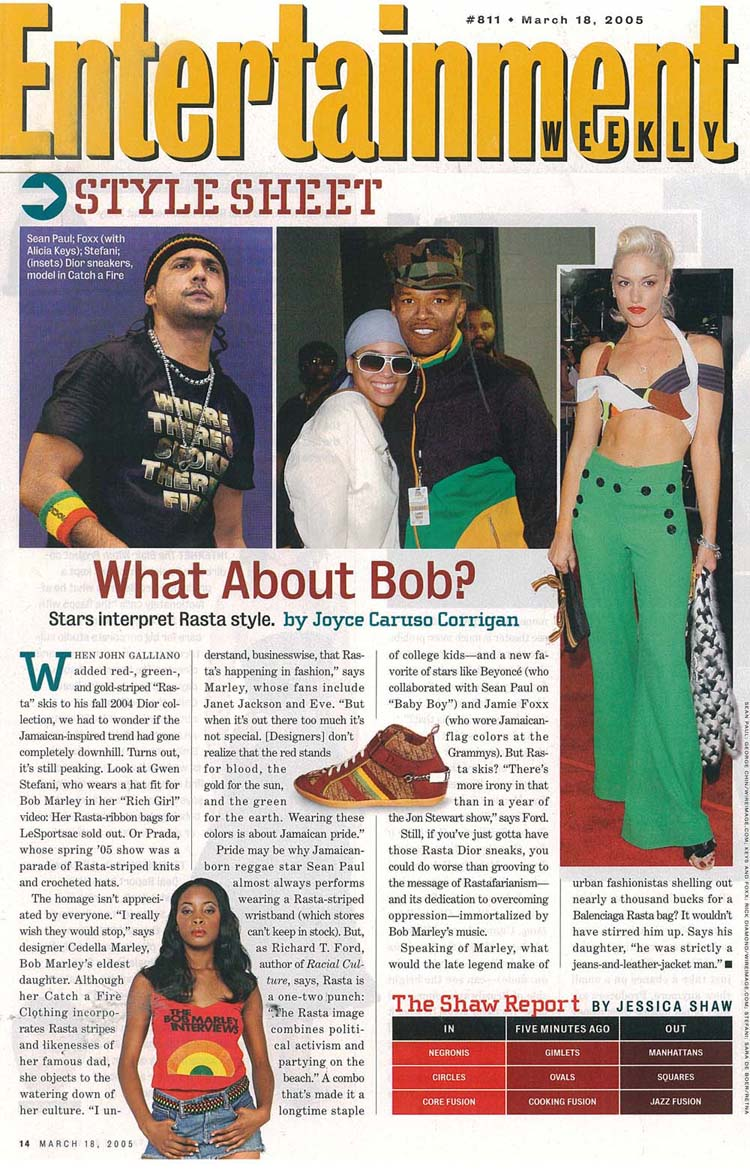 Entertainment Weekly. Catch A Fire Clothing. Bob Marley Interview Tee.