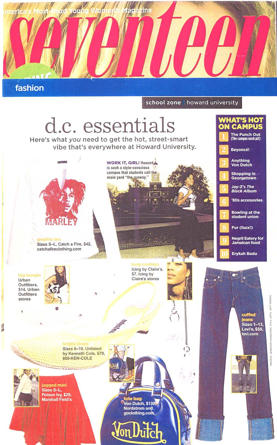 Seventeen Magazine. Catch A Fire Clothing. Bob Marley Tee.