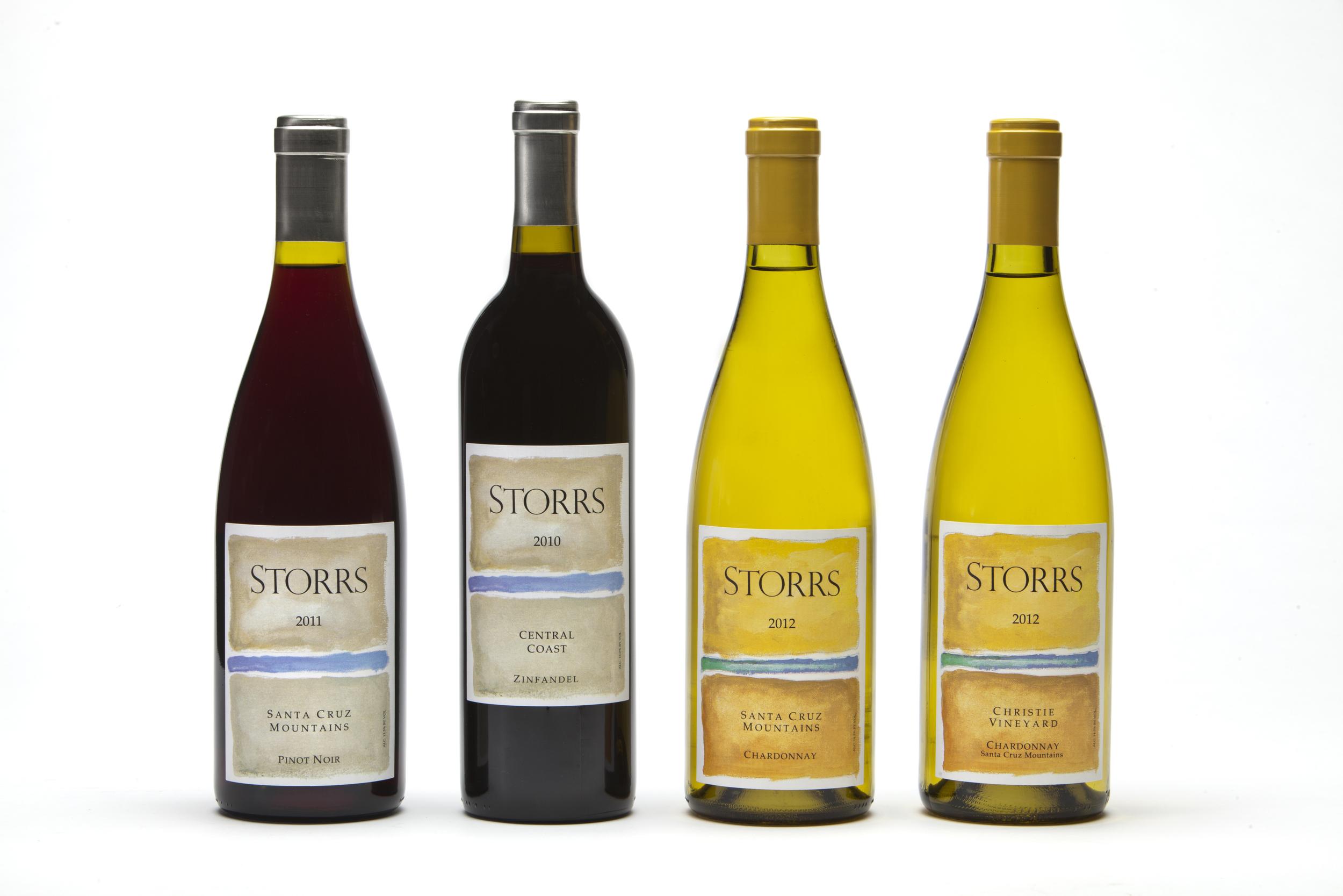 4 Bottles of Storrs Wine:  Pinot Noir, Zinfandel & 2 Chardonnay