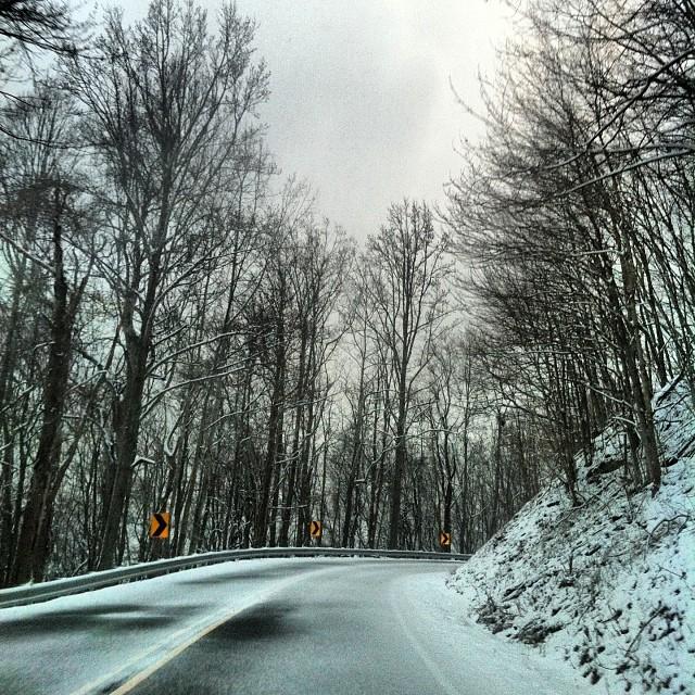 Right before it got scary. spring #snowstorm #mountianpass #ironmountians #virginia #Tennessee #northcarolina  #nofilter #springbreak