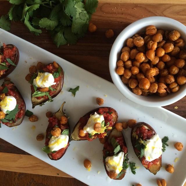 Beautiful_roasted_baby_eggplant_with_Harissa_courtesy_of__bourbonandhoney__Harissa__harissapaste__eggplant__chickpeas__foodporn__gourmet__brooklyn__DTLA__chicago.jpg