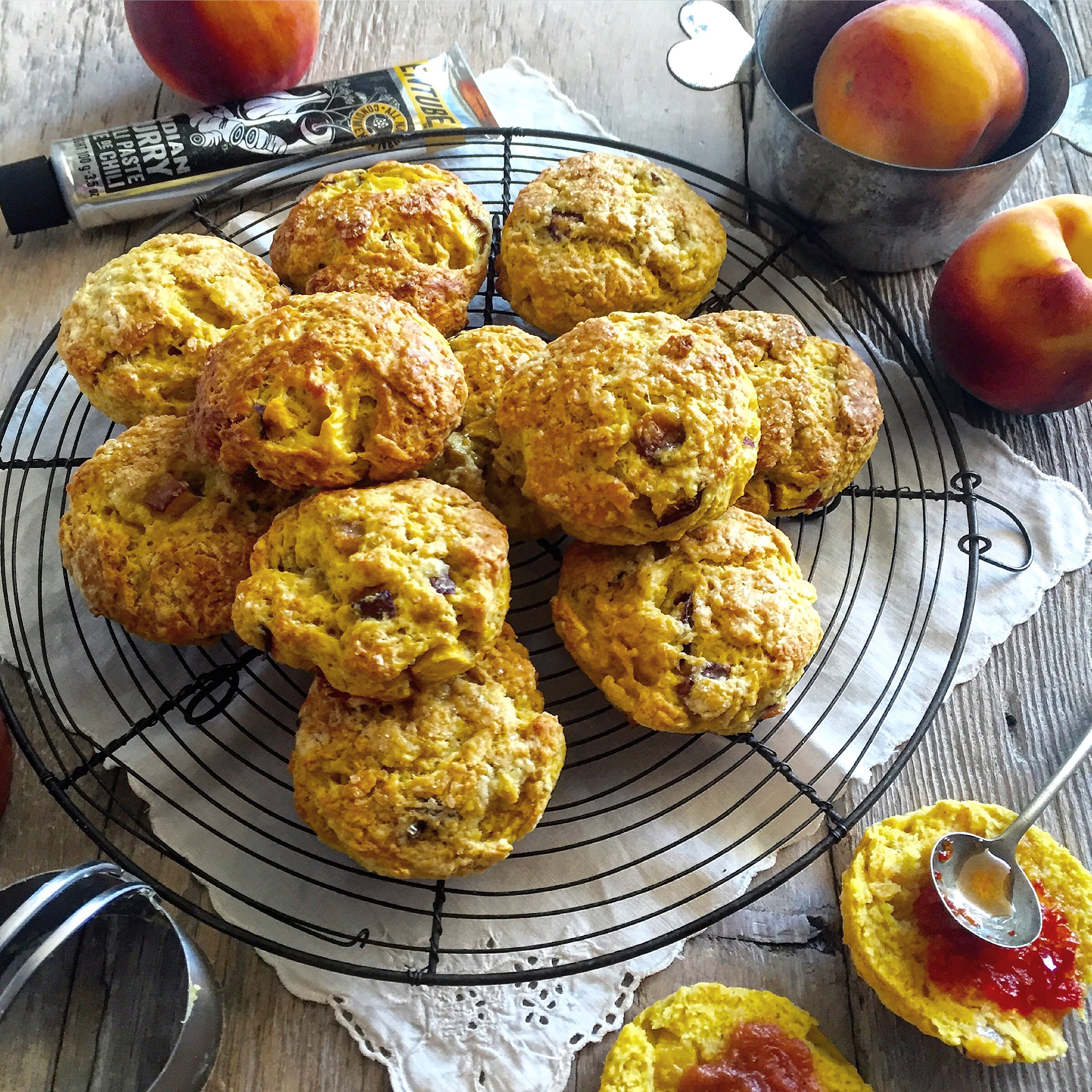 CURRY PEACH SCONES