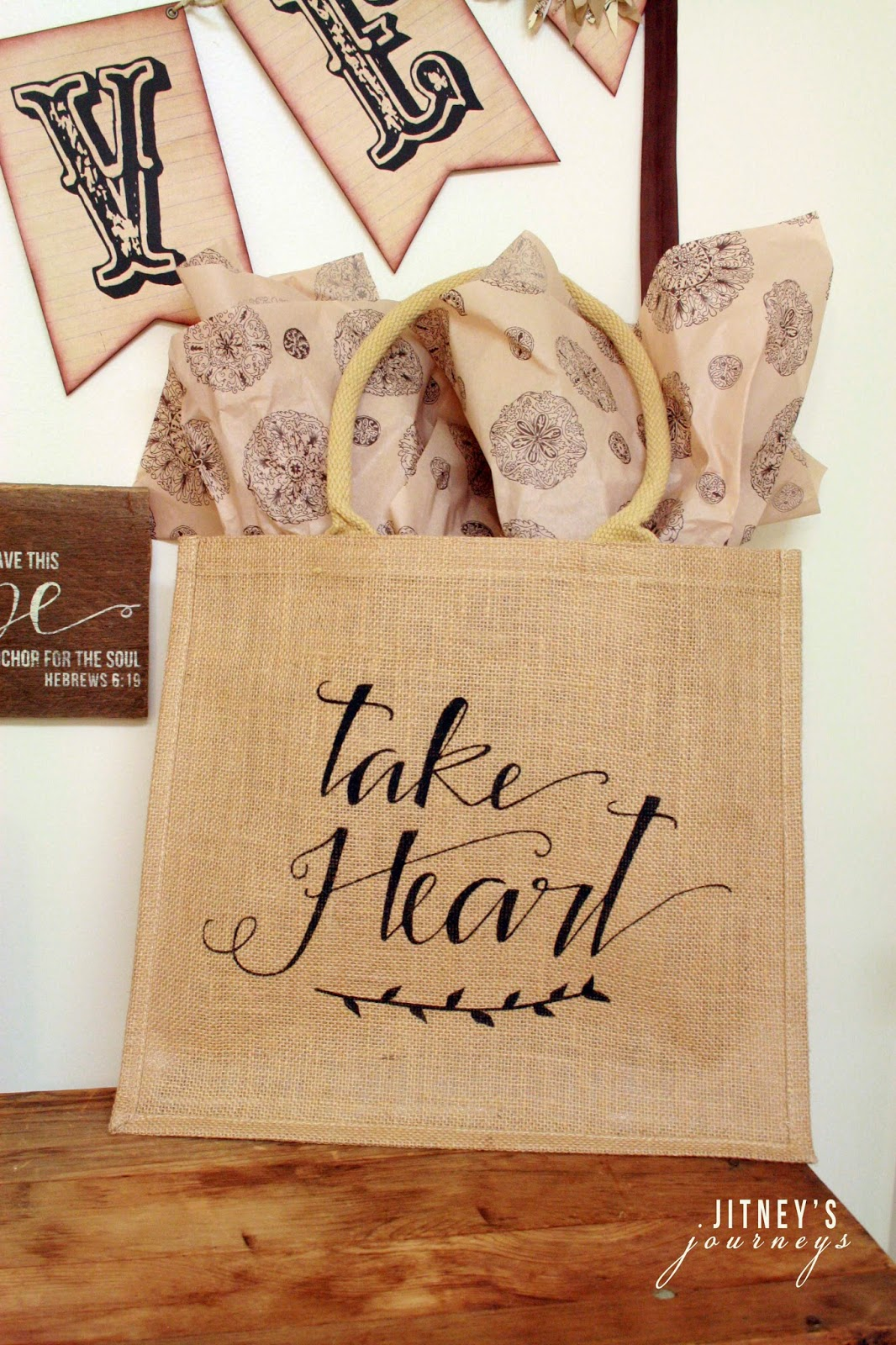 "(1) Large ""Take Heart"" Burlap Tote (John 16:33)"