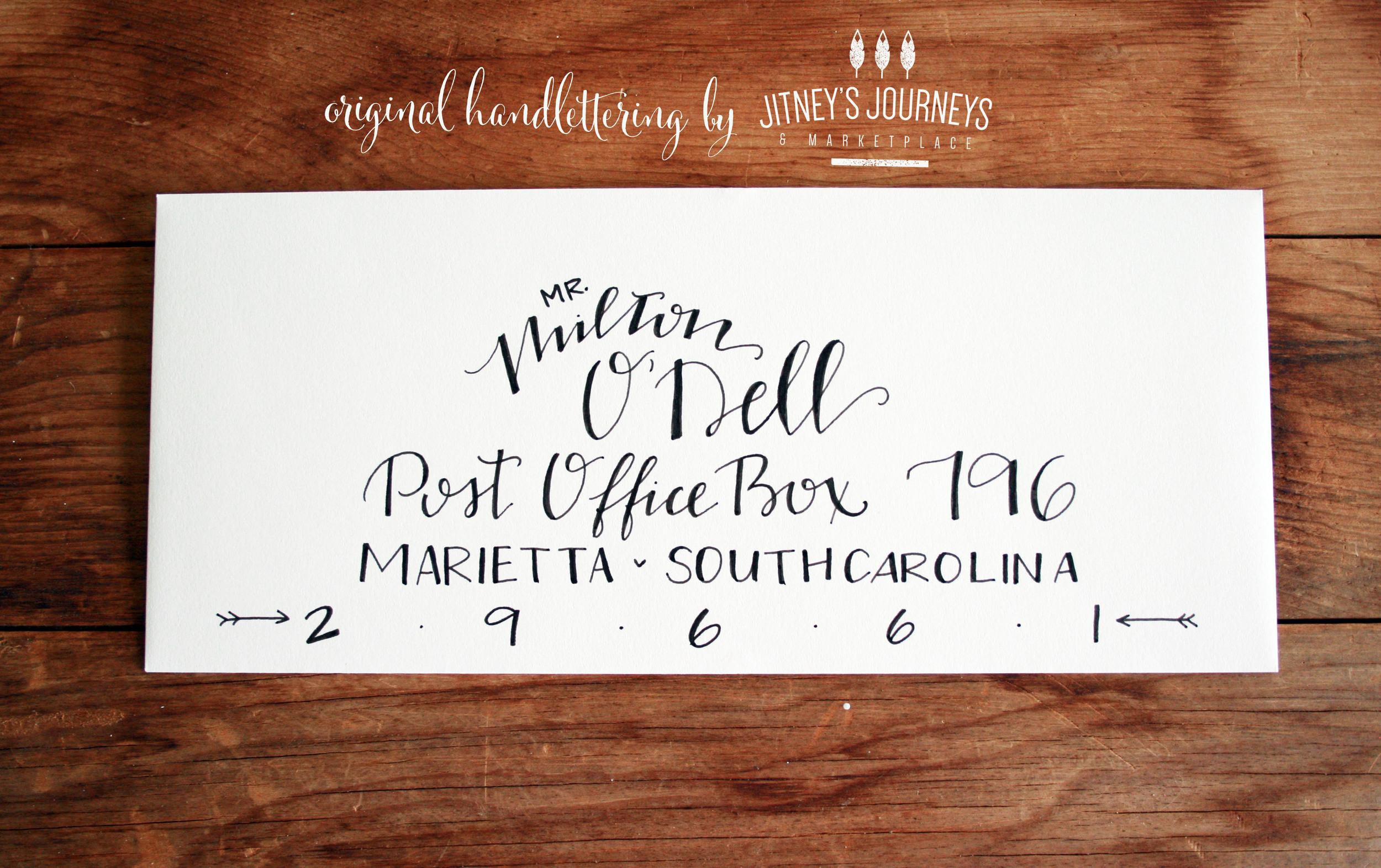 Original Handlettering for Wedding Envelopes by Jitney's Journeys