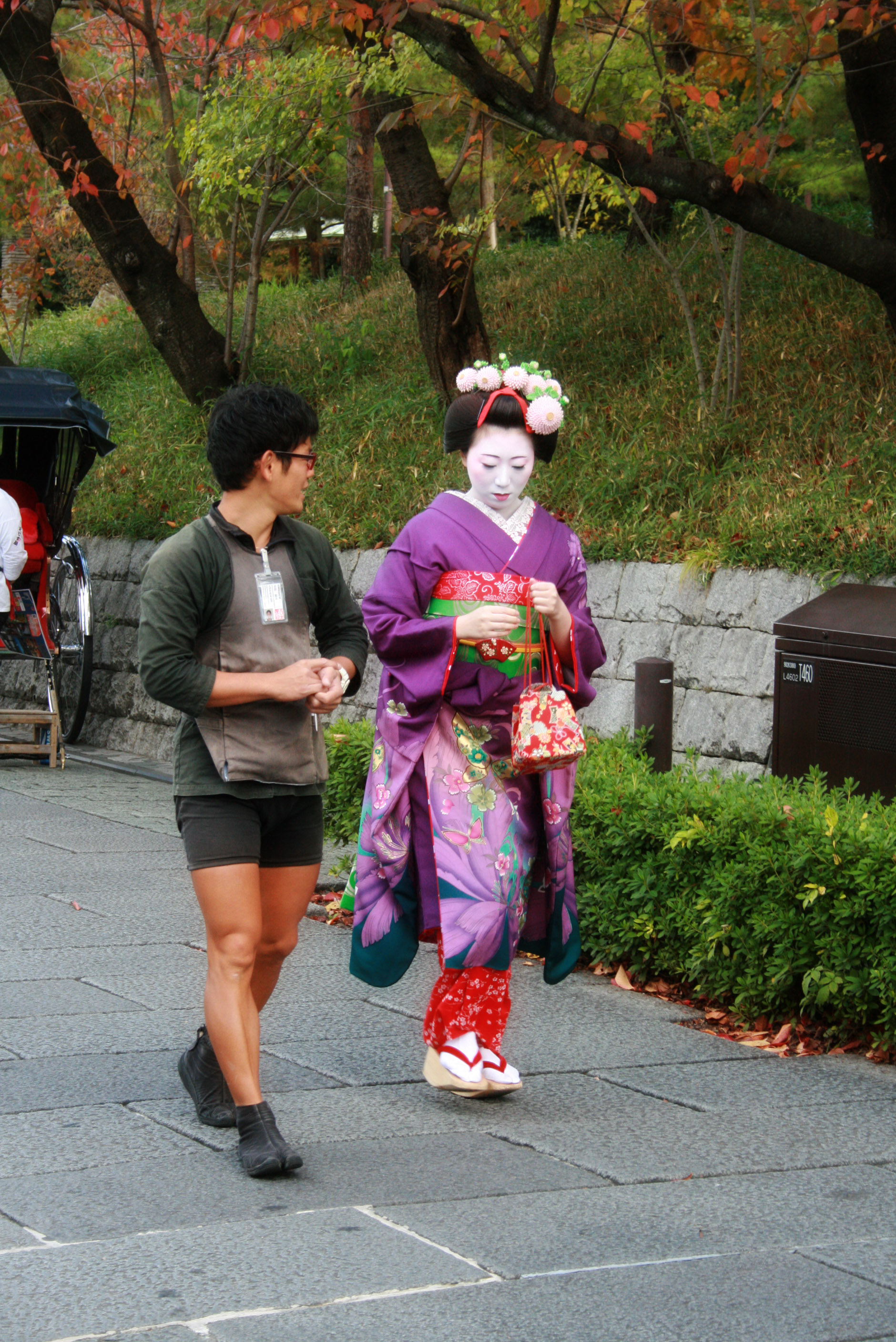 This was the first geisha we saw walking around town. Please check out her specialty socks that separate the big toe from the other toes and are made just for those shoes. Fun fact about Gion (another district of Kyoto beside S. Higashiyama): You can pay to become a  maiko  (apprentice geisha) which includes full make-up and a formal kimono.