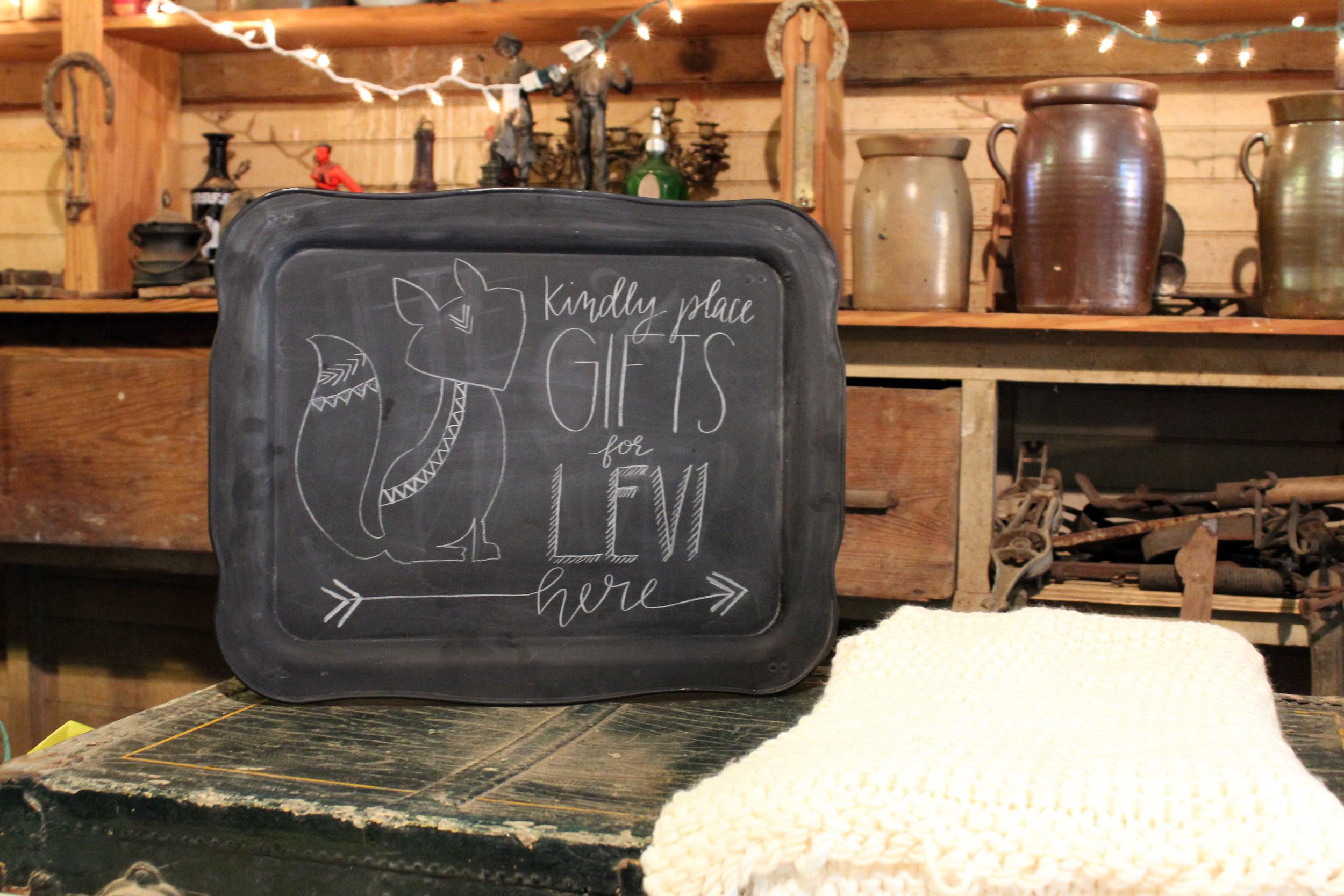 Baby Shower Gifts Sign Chalkboard via Jitney's Journeys