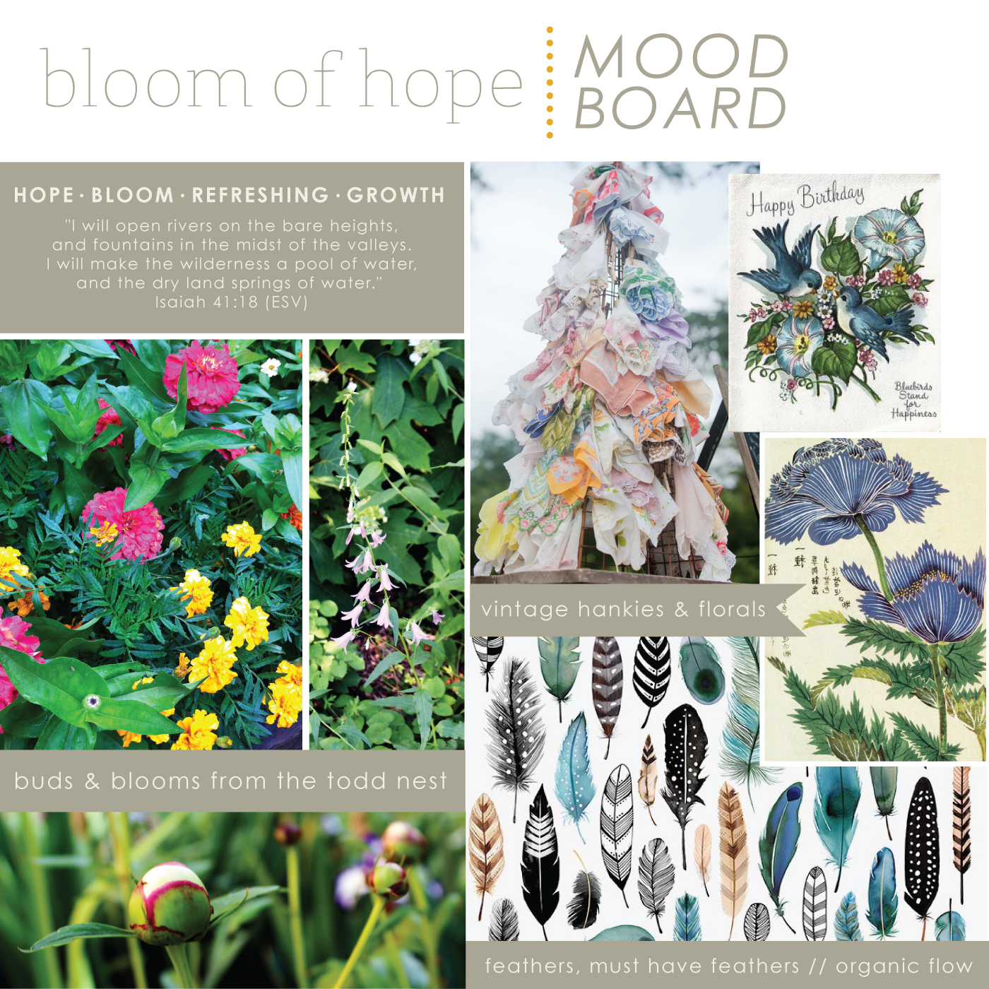 Mood Board for Bloom of Hope // Fabric + Surface Pattern Design by Whitney Todd of Jitney's Journeys