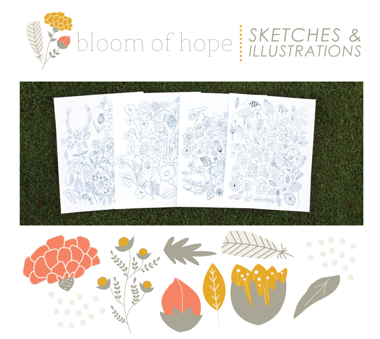 Illustrations for Bloom of Hope // Fabric + Surface Pattern Design by Whitney Todd of Jitney's Journeys