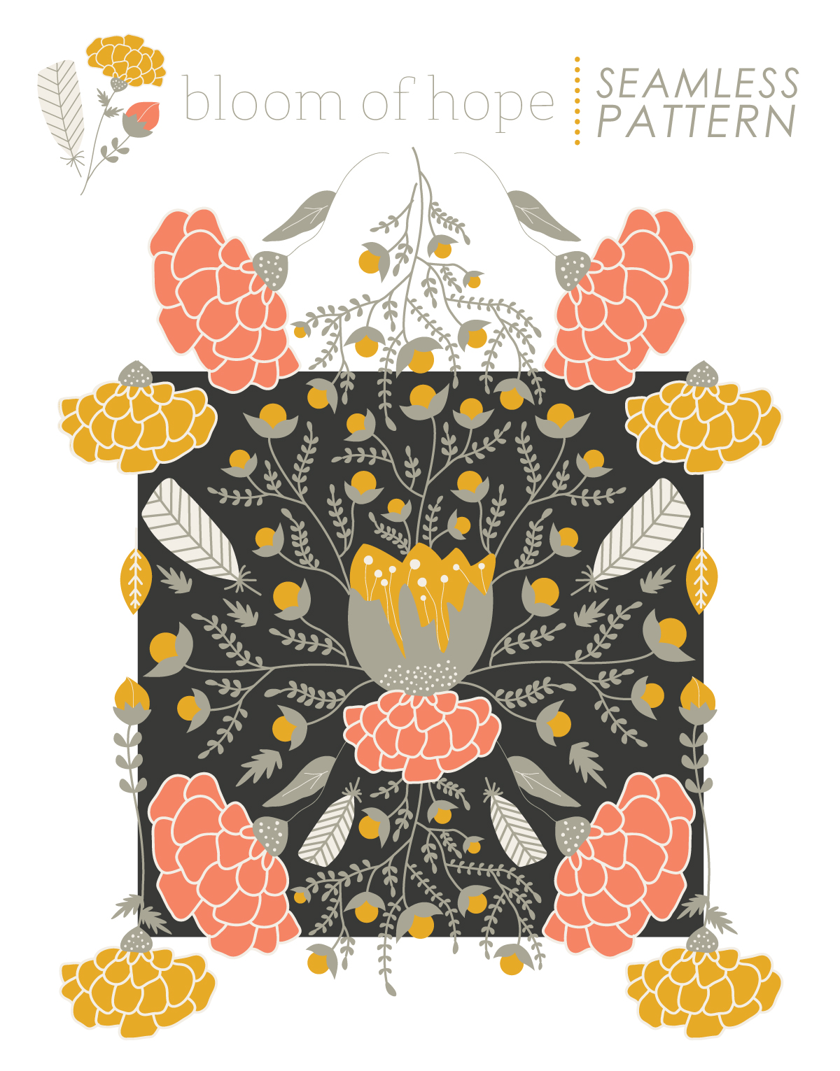Seamless Pattern for Bloom of Hope // Fabric + Surface Pattern Design by Whitney Todd of Jitney's Journeys