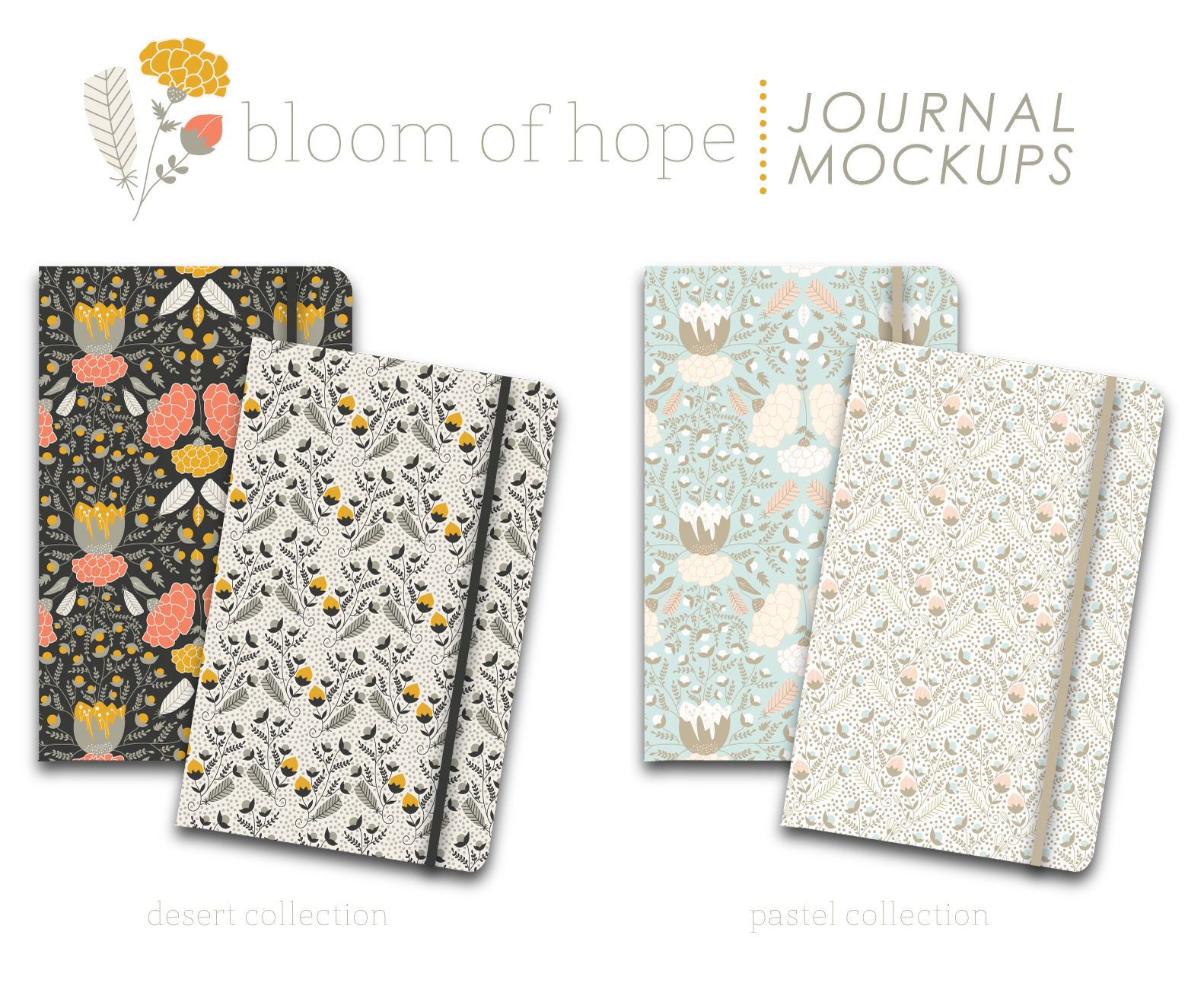 Journals featuring Bloom of Hope Pattern // Fabric + Surface Pattern Design by Whitney Todd of Jitney's Journeys