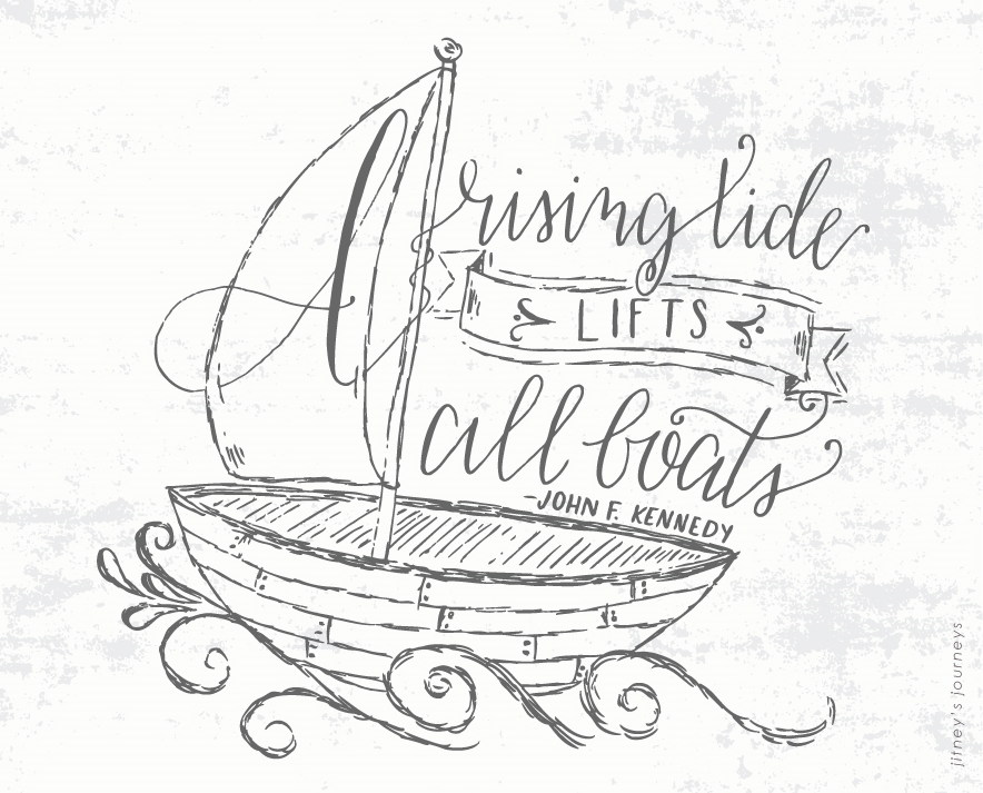 A Rising Tide Lifts All Boats // Skillshare Calligraphy 101 Project by Jitney's Journeys