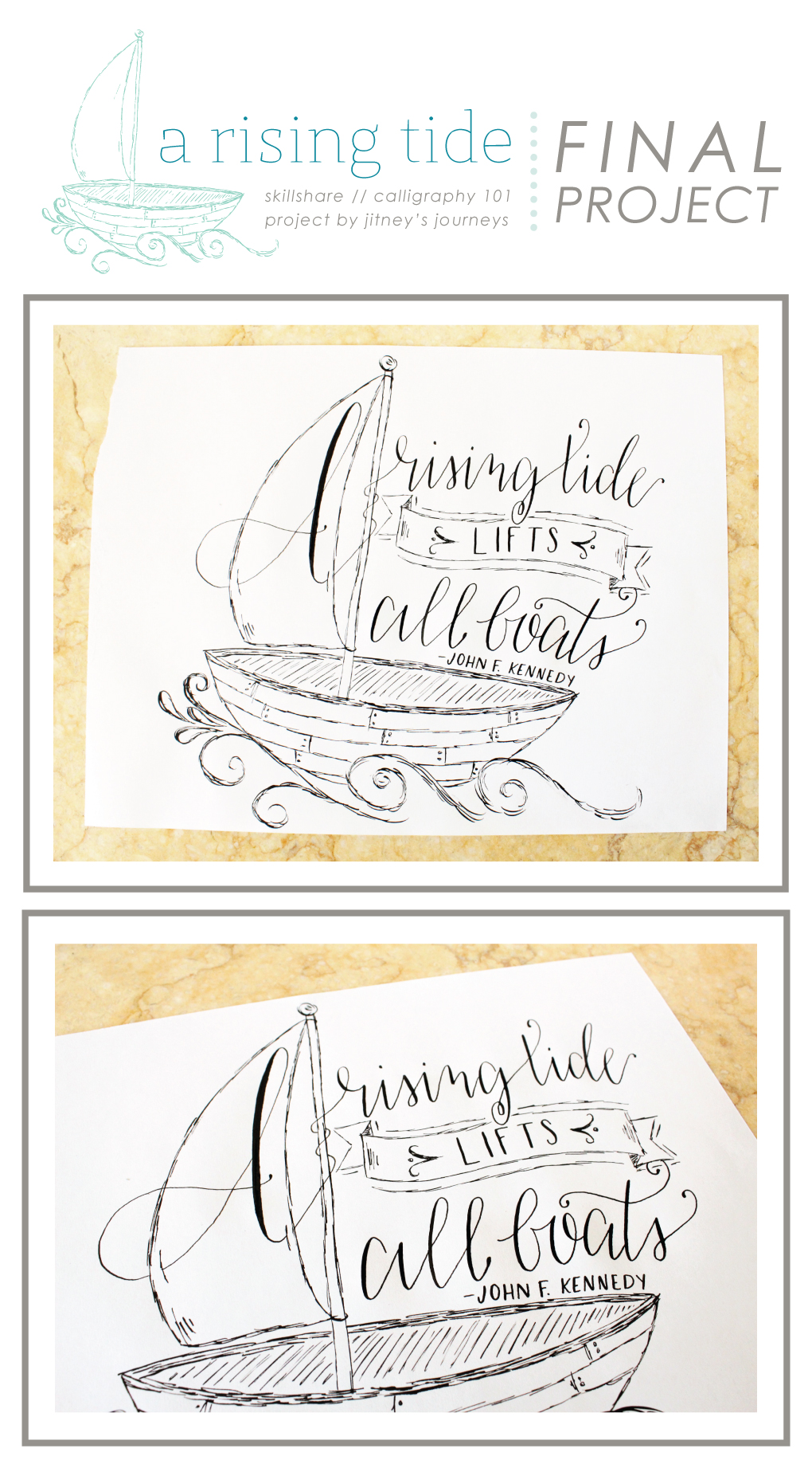 Calligraphy 101 Skillshare Project by Whitney Todd @ Jitney's Journeys
