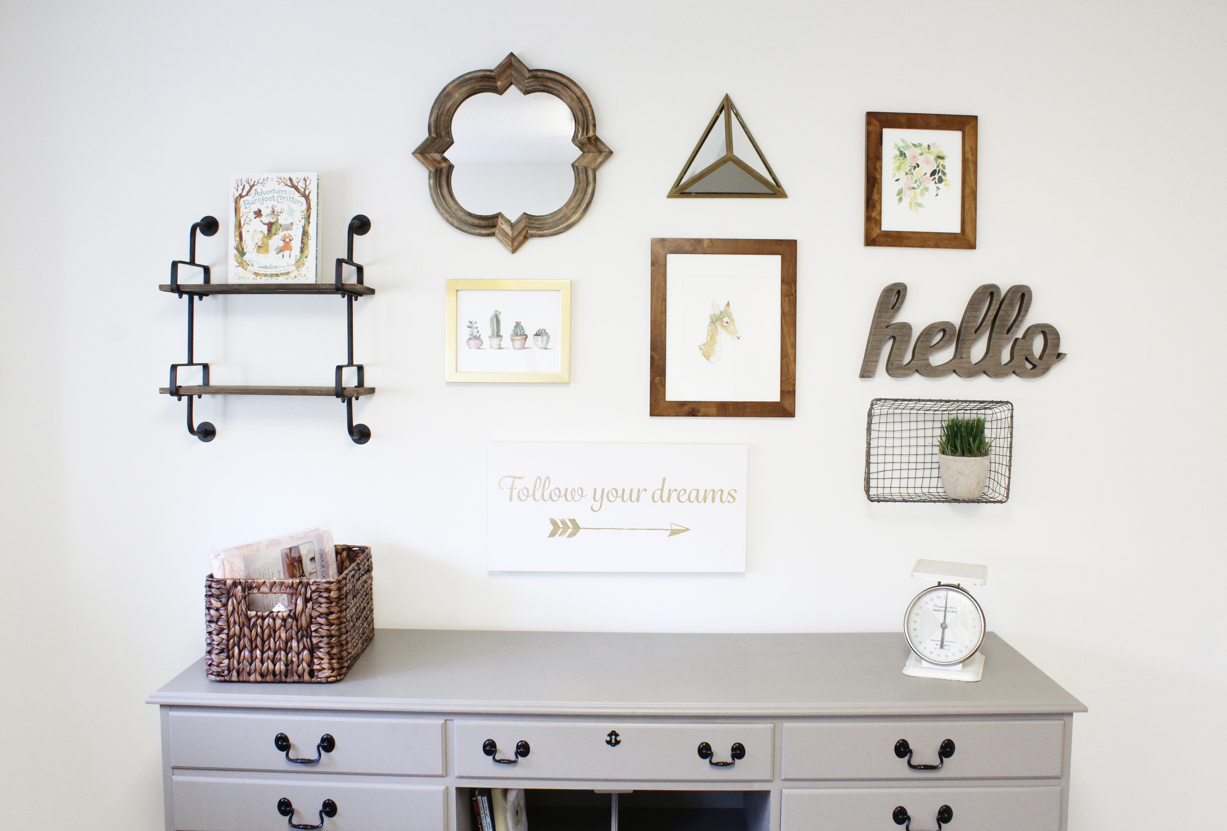 Changing Table and Art Gallery Wall for Nursery // via Jitney's Journeys