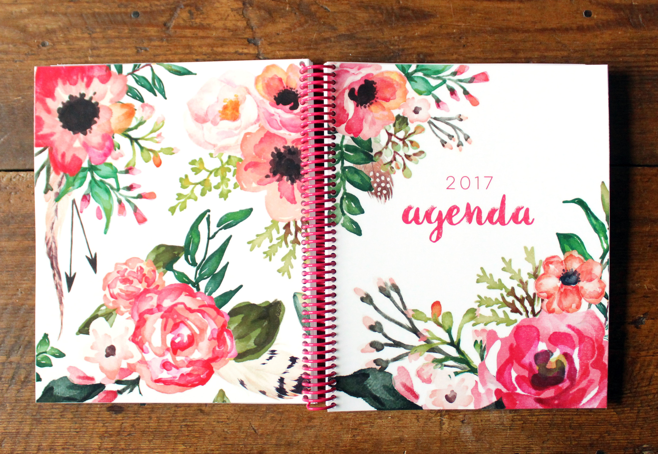 The lovely floral Front and Back Cover of the Jitney's Journeys 2017 Agenda!