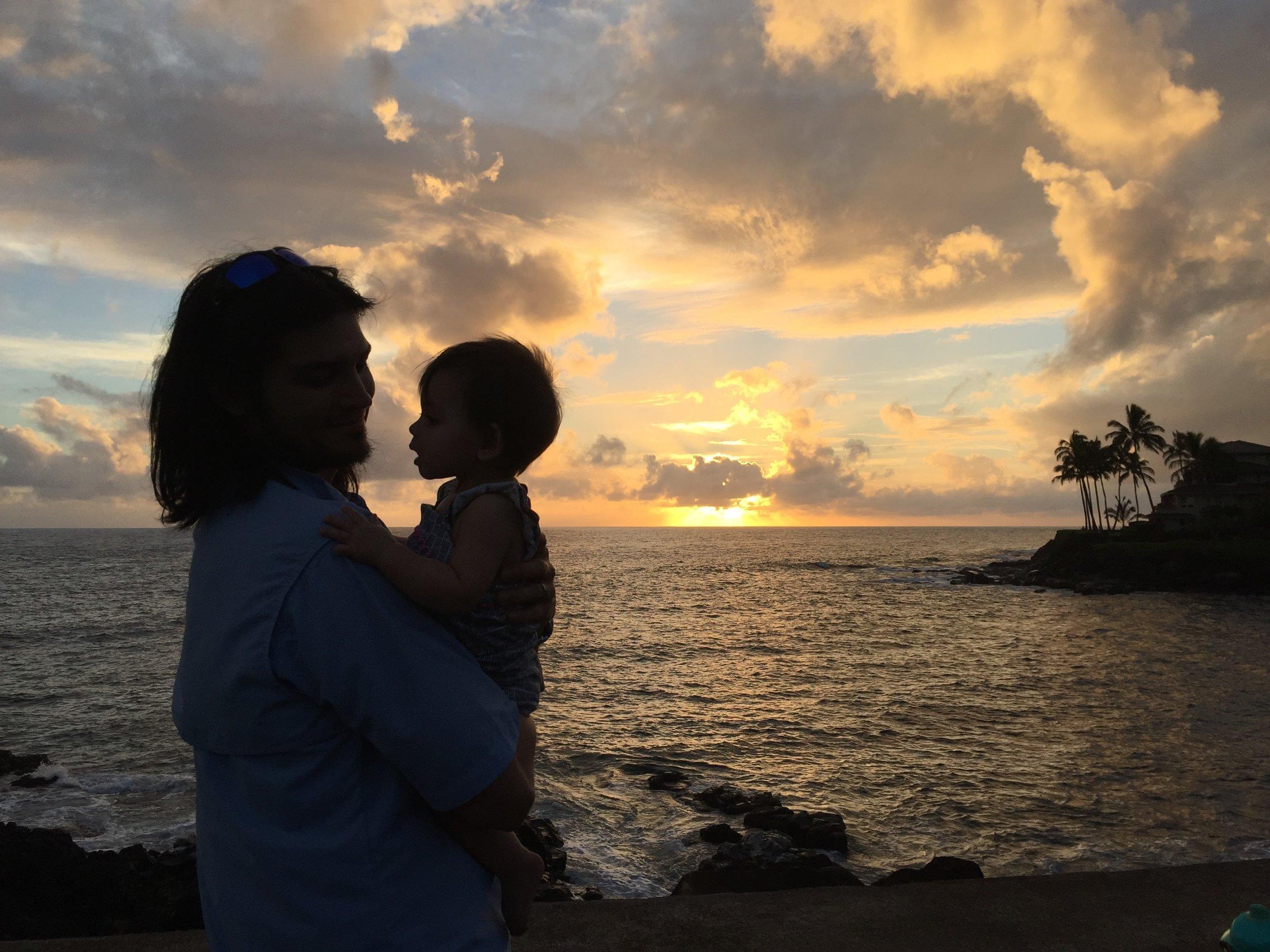 Father Daughter at Kauai Sunset via Jitneys