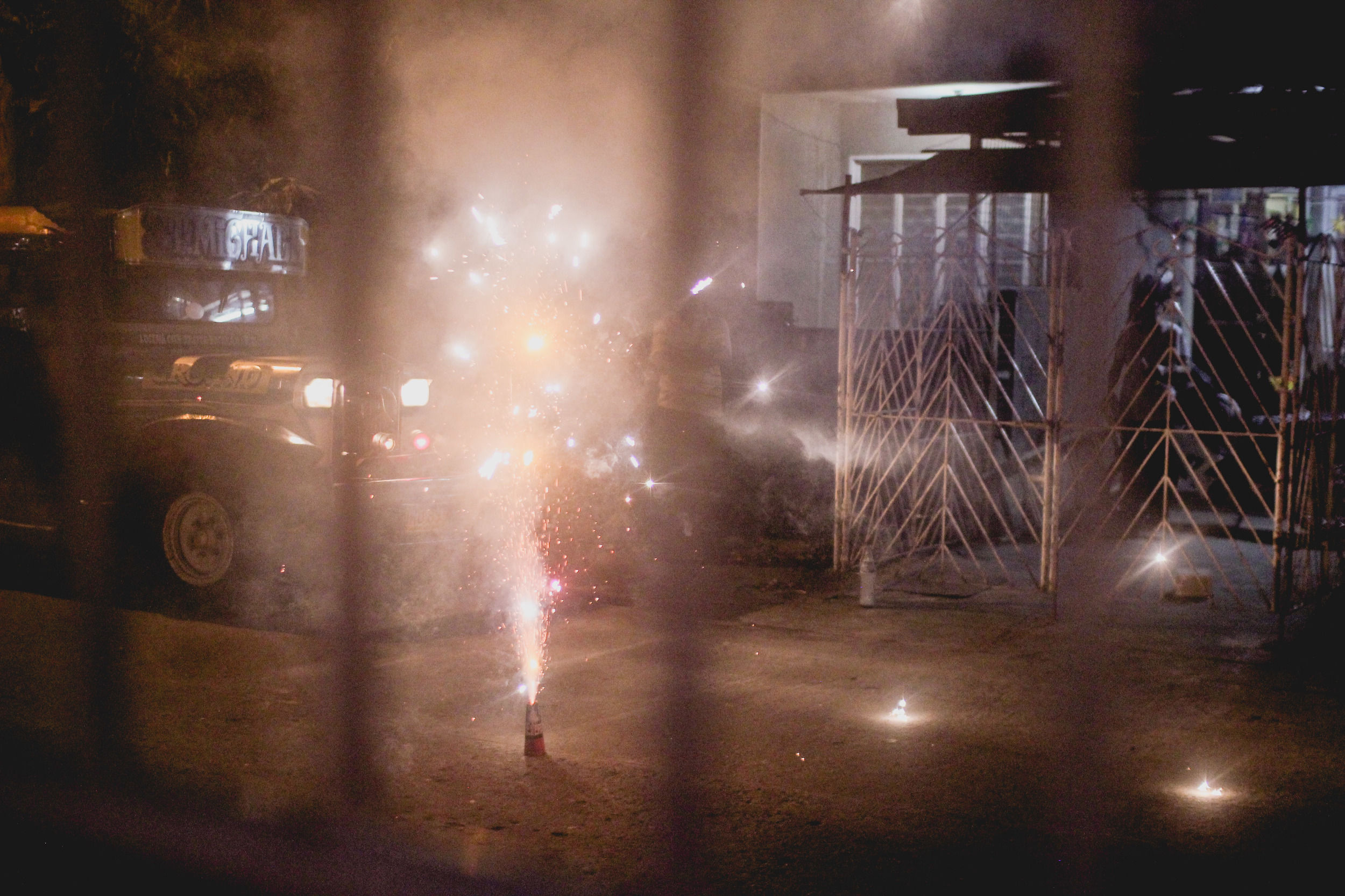 ringing in the new year with some sparklers and fireworks | Lucena, Philippines