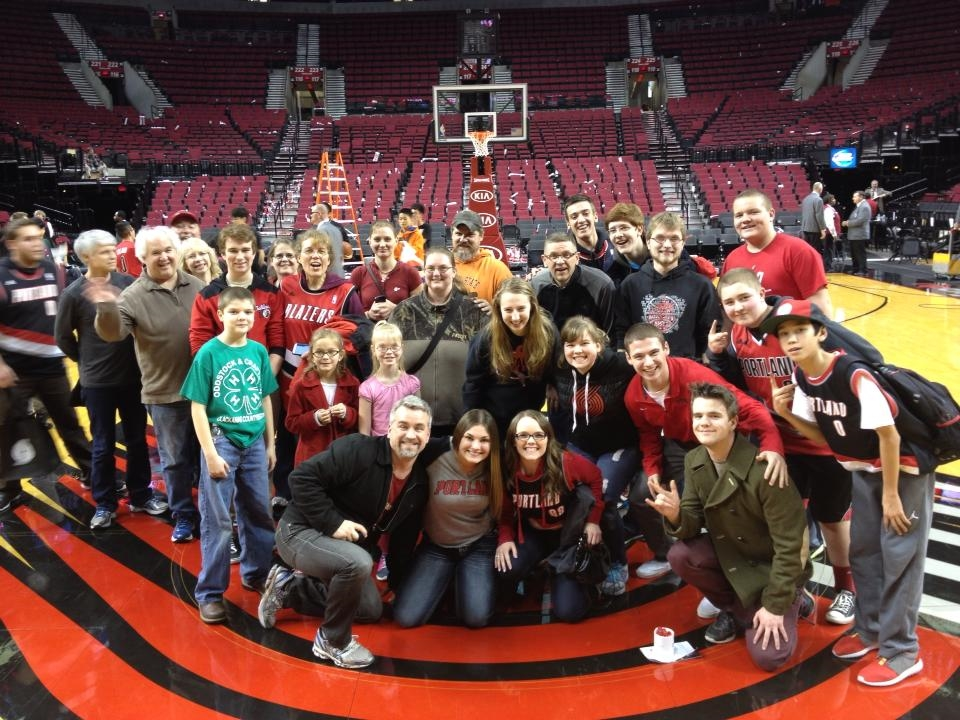 A group of Happy Valley-ites at the Blazer's Faith and Family Night, February 2014.