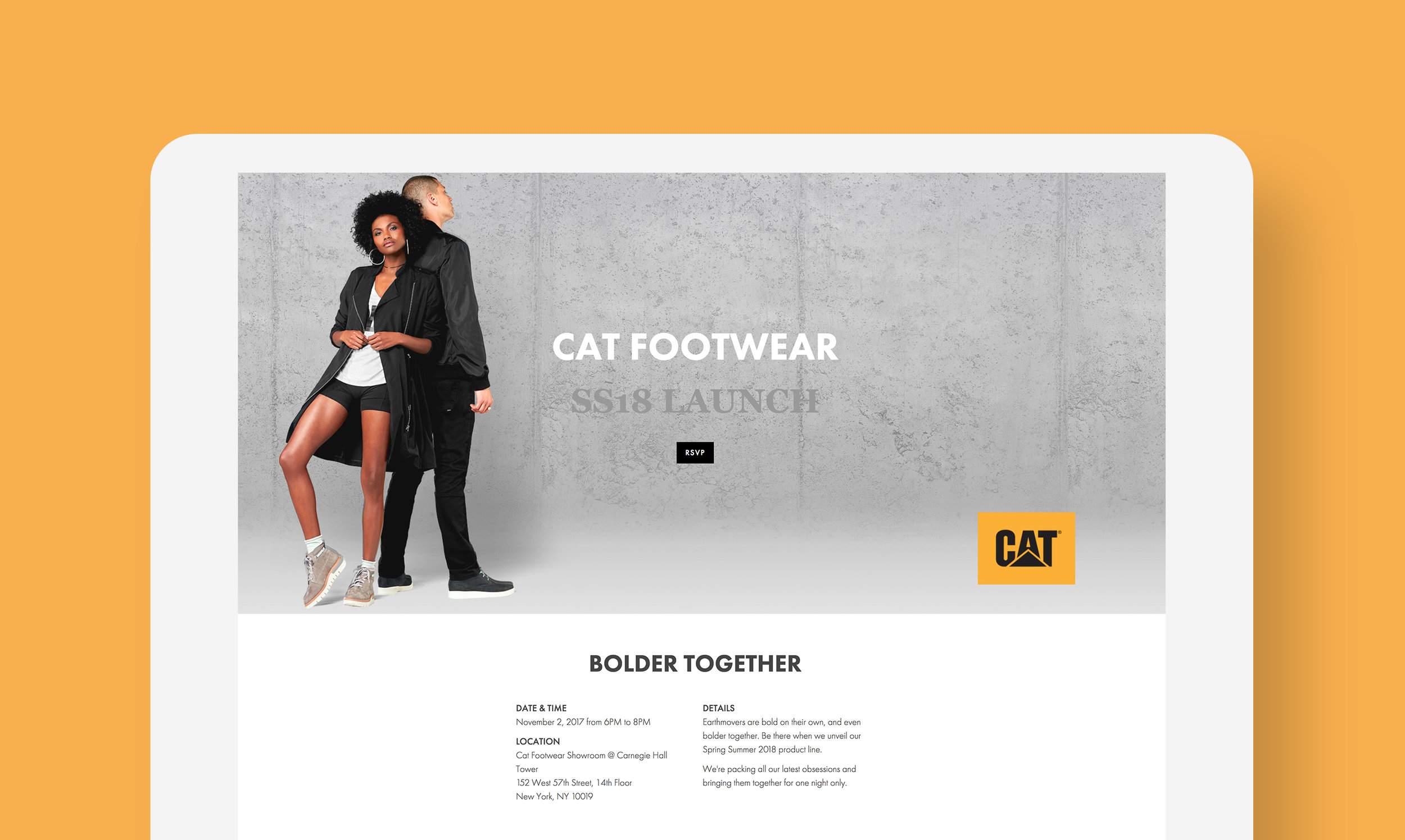 Corporate Event Online RSVP - CAT Footear
