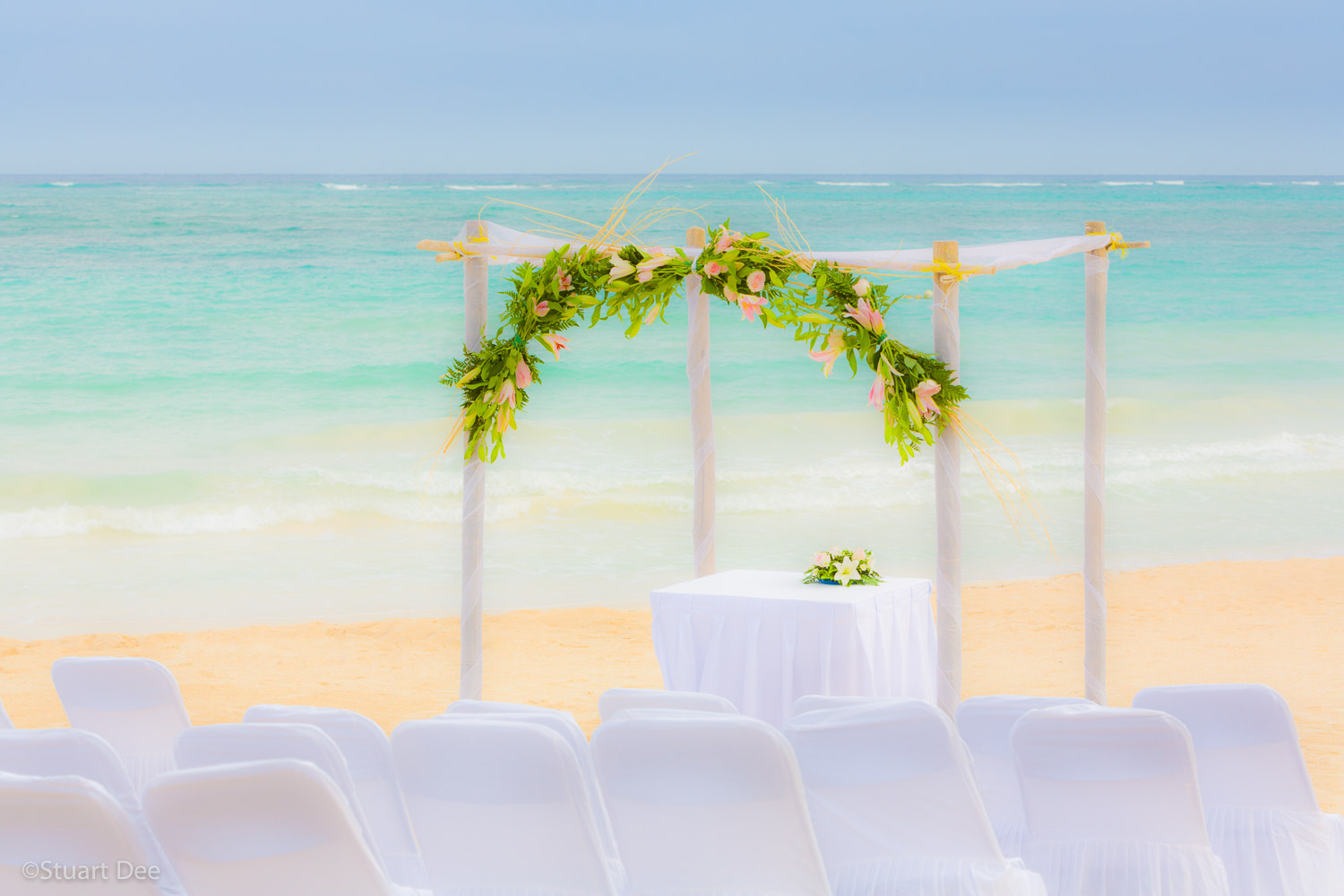 Wedding setting by the beach