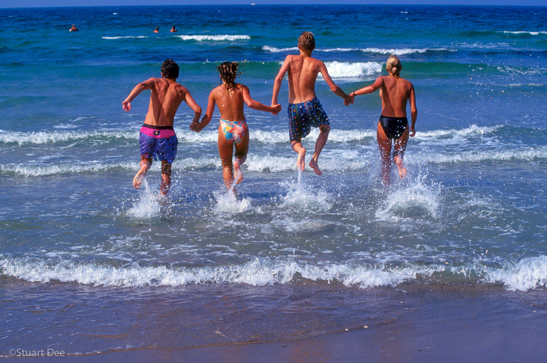 Kids Running Into Sea; Hornbaek, Denmark