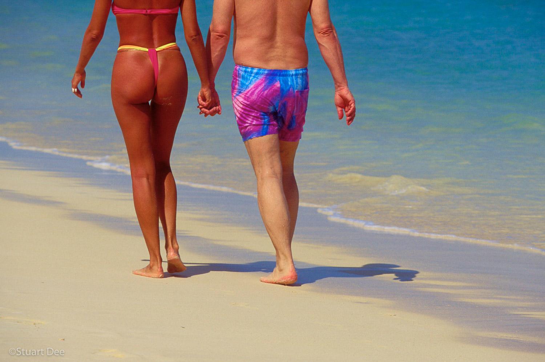 Young/Old Couple, Beach, Hawaii, USA
