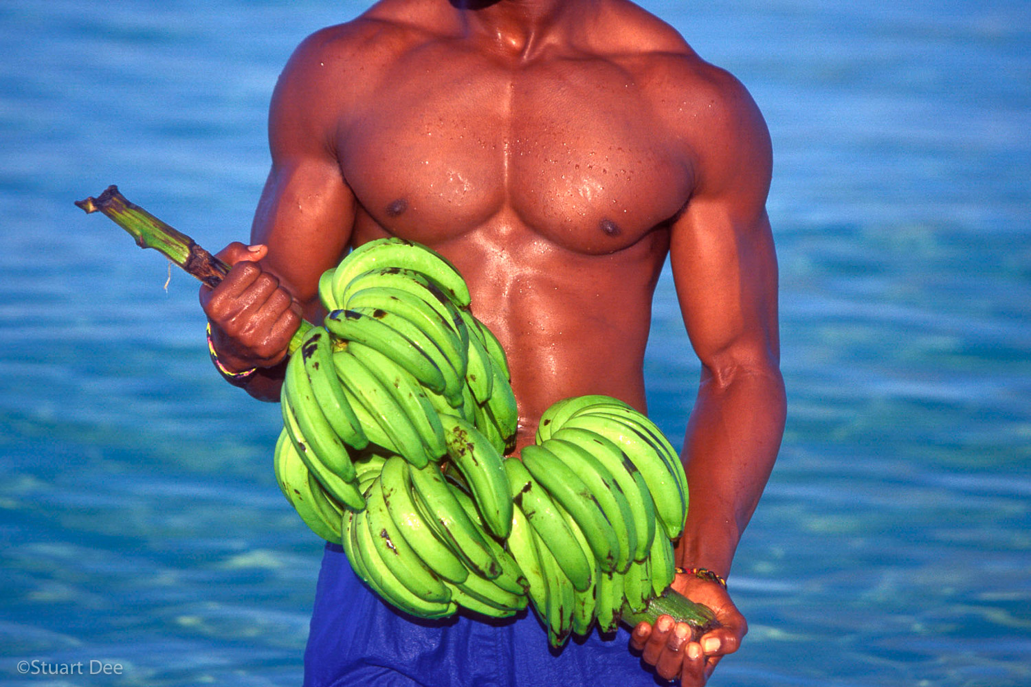 Man, black, at beach, with bananas, Negril, Jamaica,  R