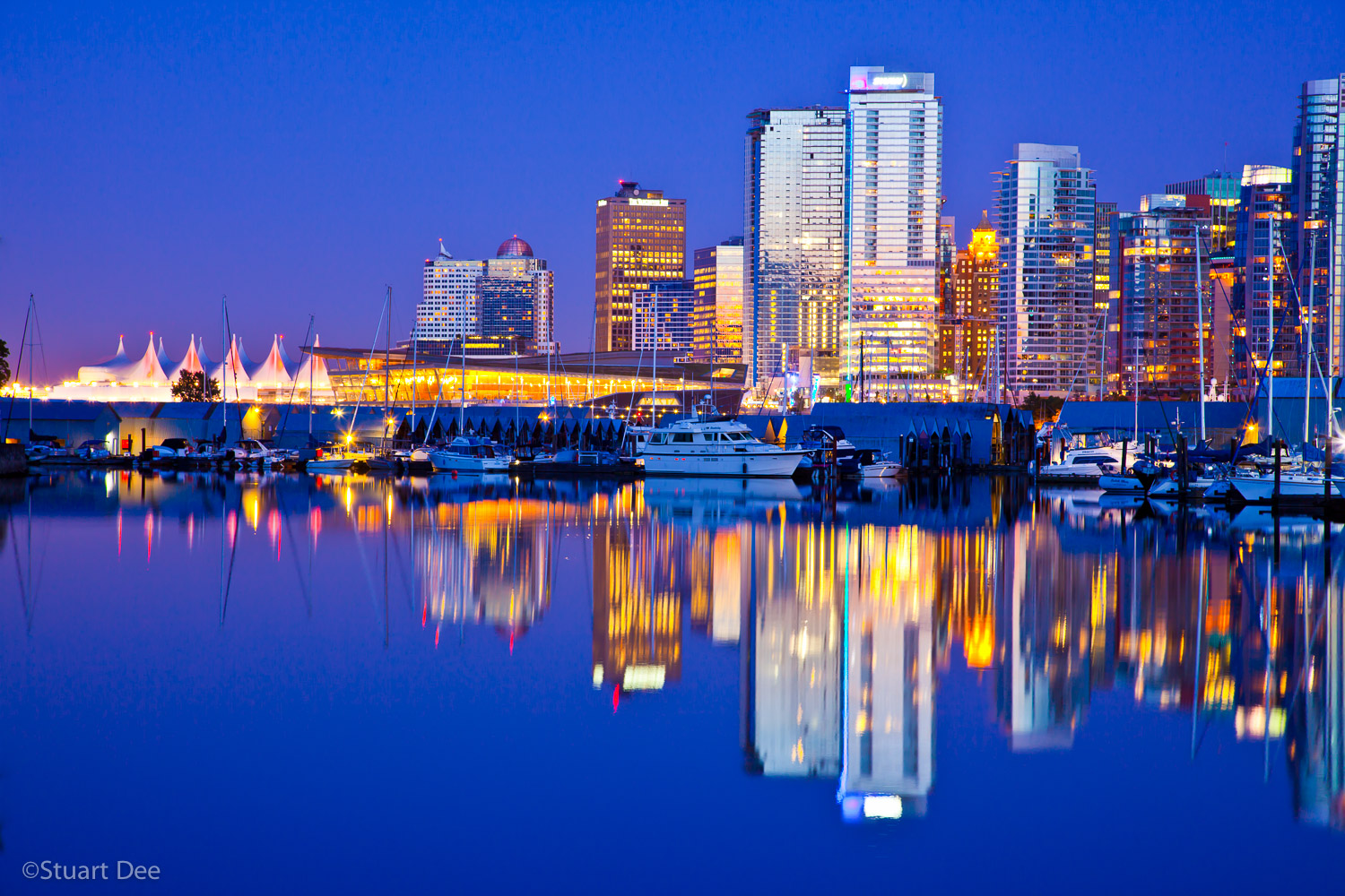 Vancouver skyline at dusk, Coal Harbor, Stanley Park, Vancouver, BC, Canada