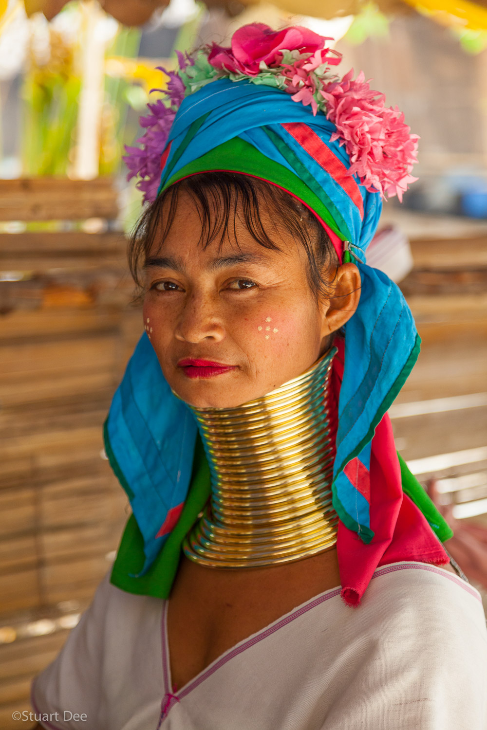 Hill tribe village, near Chiang Mai, Thailand. Padaung long neck woman with brass rings. The Padaung are a subset of the Karen hill tribe people.