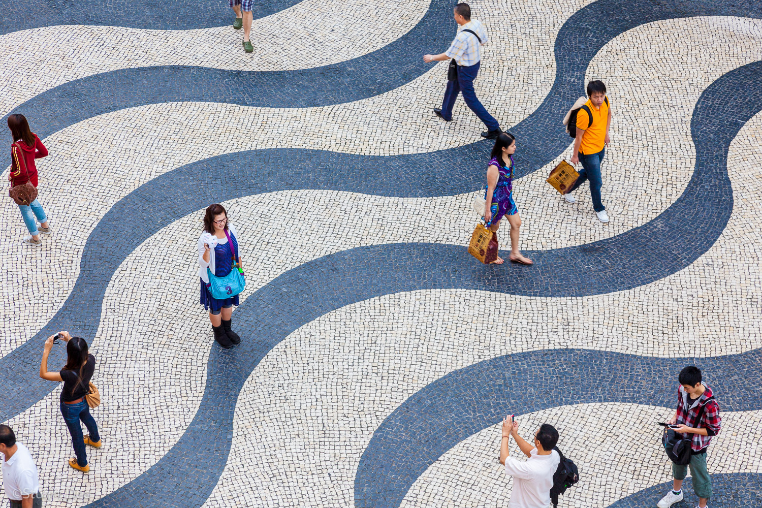 Aerial view of Senado Square, showing the traditional Portuguese colonial wave pattern on the ground, Macau, China
