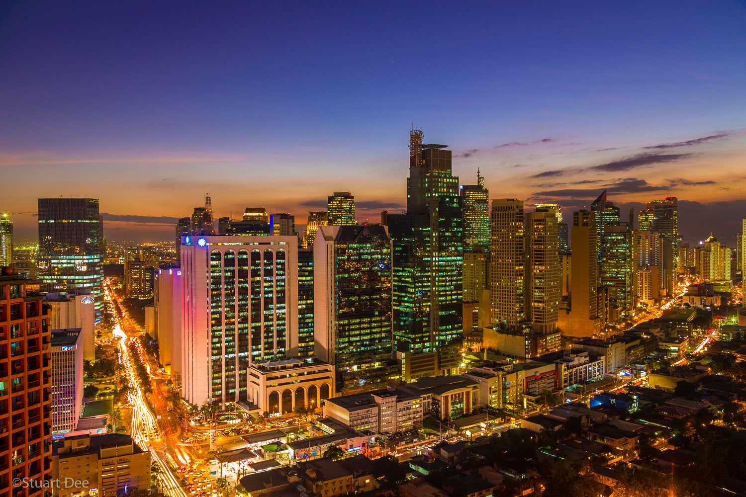 Makati (Central Business District) skyline, at twilight/night, Metro Manila, Philippines