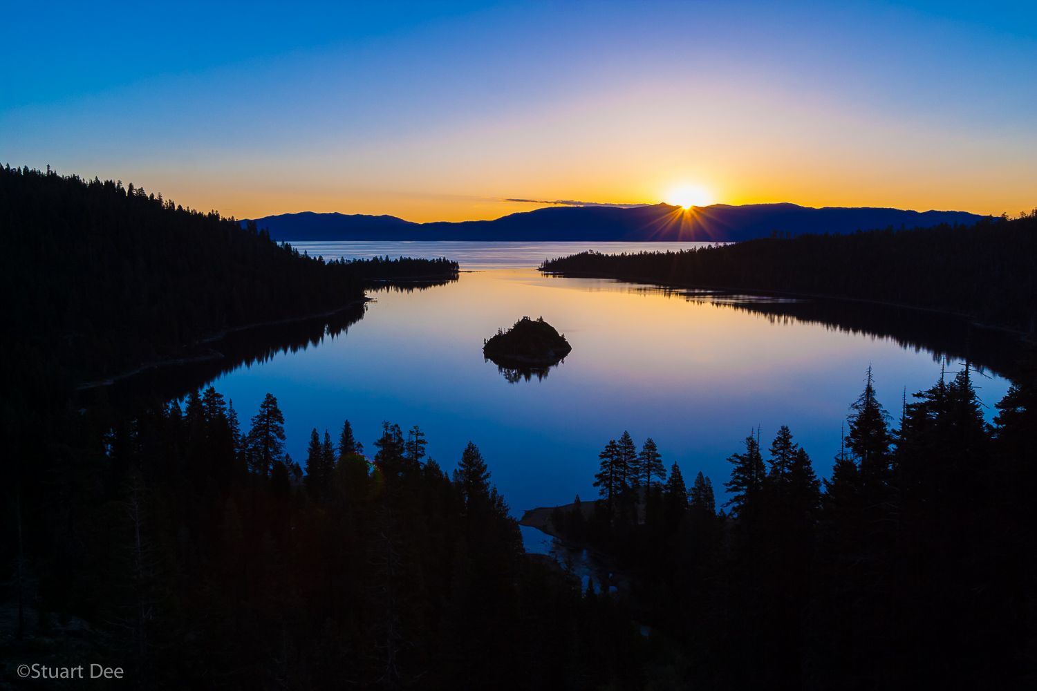 Sunrise at Emerald Bay, showing Fannette Island, Lake Tahoe, California, USA