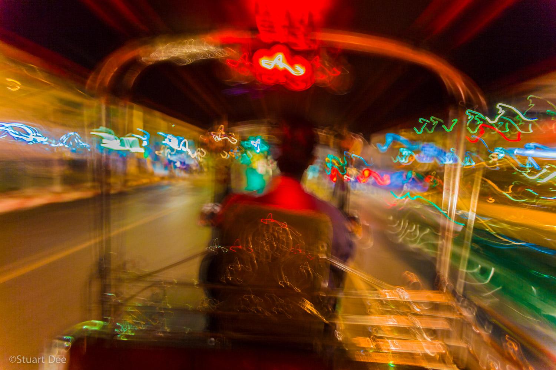 Tuk-tuk ride at night, Bangkok, Thailand