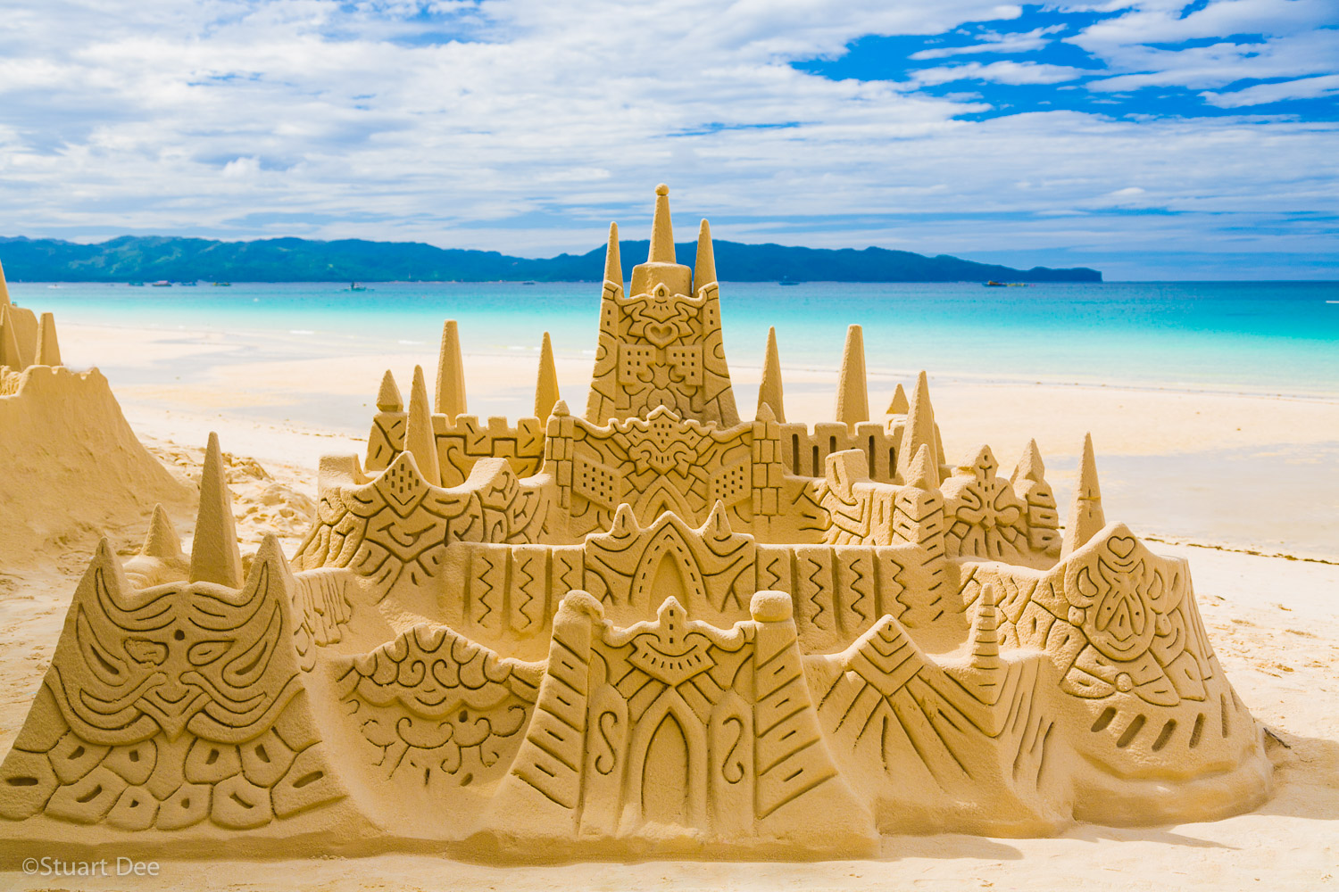 Large sandcastle on white sand beach, White Beach, Boracay, Aklan, Philippines. Boracay is the most famous beach in the Philippines, ranked as one of the best in the world.