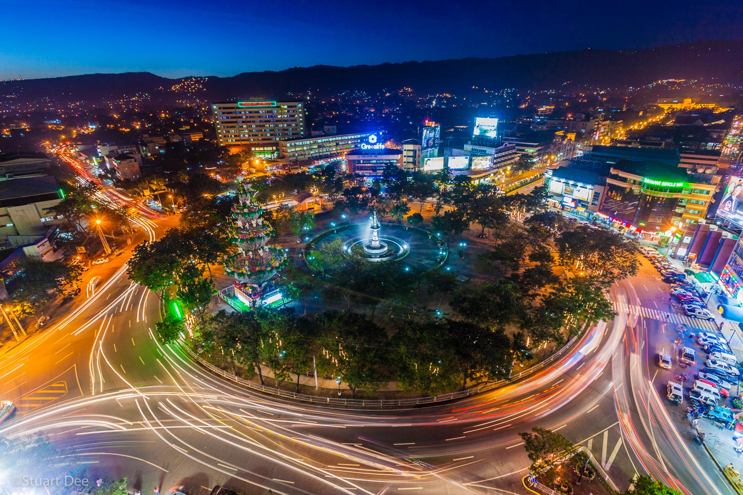 Aerial view of Fuente Osmena Circle and dusk/night, , Cebu City, Cebu, Philippines. Osmena circle is the center of Cebu City and is the landmark symbol of the city. Cebu City is the Capital of Cebu, and is the second largest city in the country after Manila.