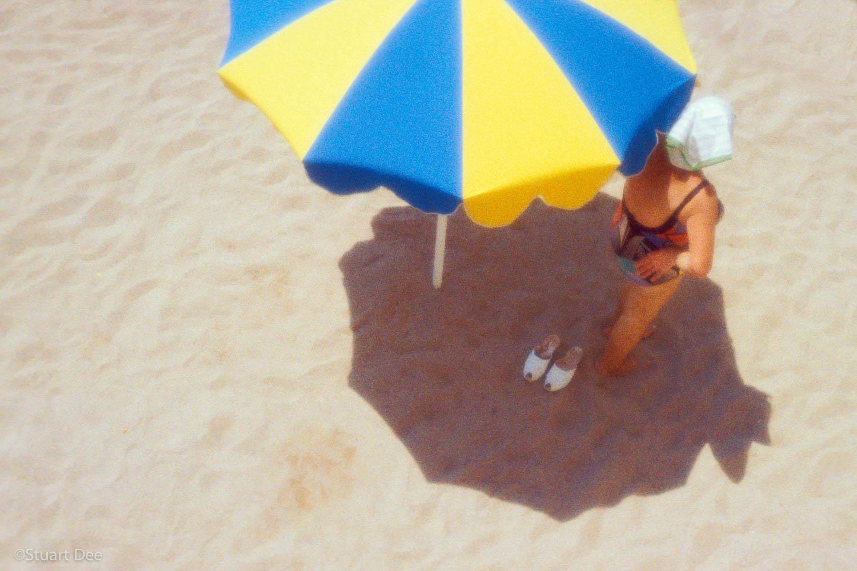 Woman Under Umbrella, Beach, Impressionistic, Cote D'azur, Cannes, France