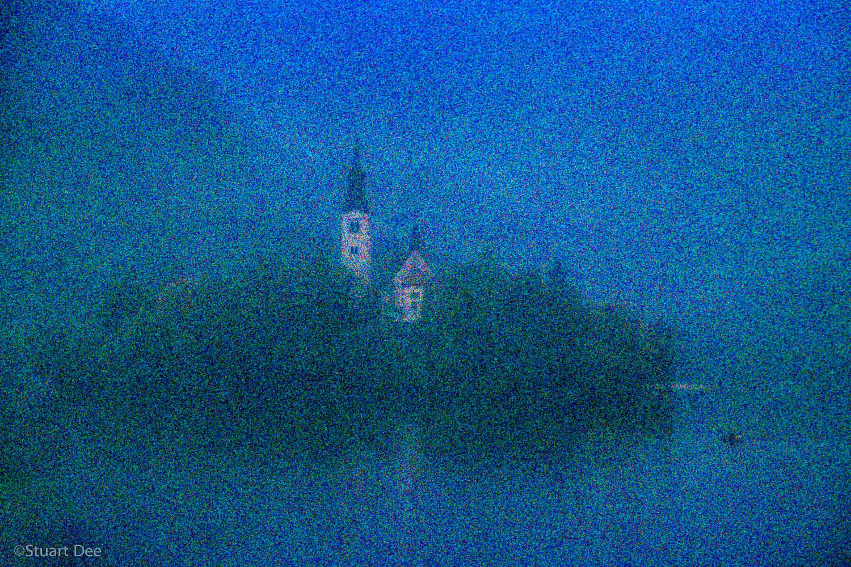 St. Mary's Church, Bled Island (Blenjski Otok), Lake Bled, Bled, Slovenia, in fog and mist