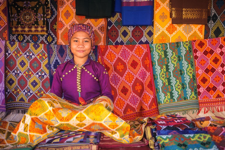 Yakan woman with yakan weave cloths, Zamboanga, Philippines