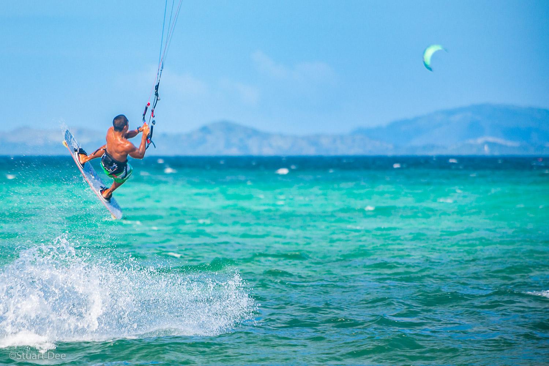 Kiteboarding, Bulabog Beach, Boracay, Aklan, Philippines.  Boracay is the most popular beach destination in the Philippines, and Bulabog Beach is the kitesurfing and windsurfing capital of Asia.