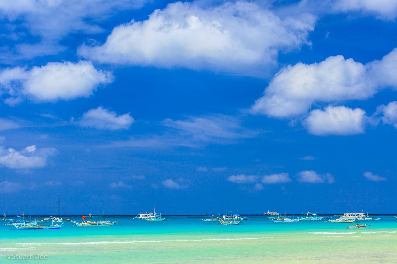 Tropical beach with cumulus clouds, Boracay