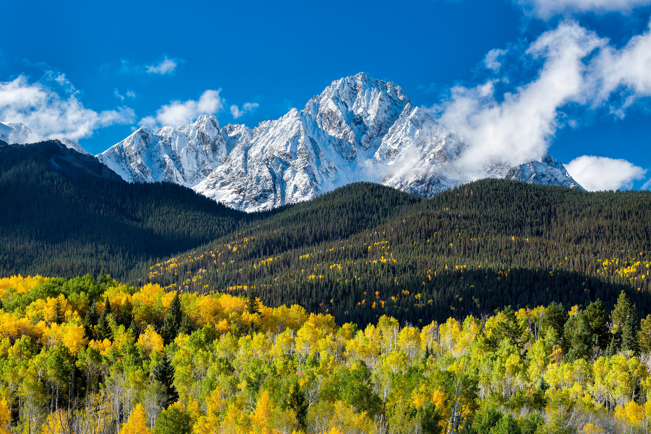 Landscape: Clearing storm over the San Juan Mountains and Mt. Sneffels in Autumn, Colorado