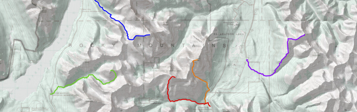 A section of the topographic map with my GPS recorded tracks.