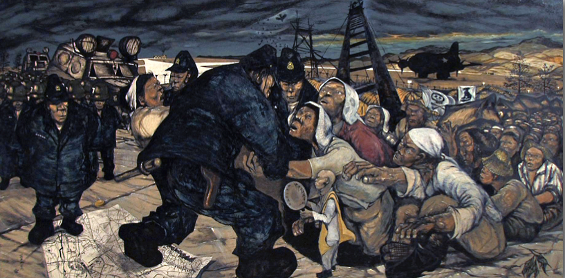 Reportage painter Nakamura Hiroshi translated the violent feeling of unrest to canvas.  See more work here .