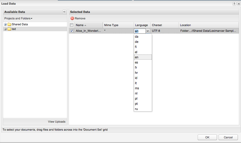 Selecting a language for a text document in Leximancer