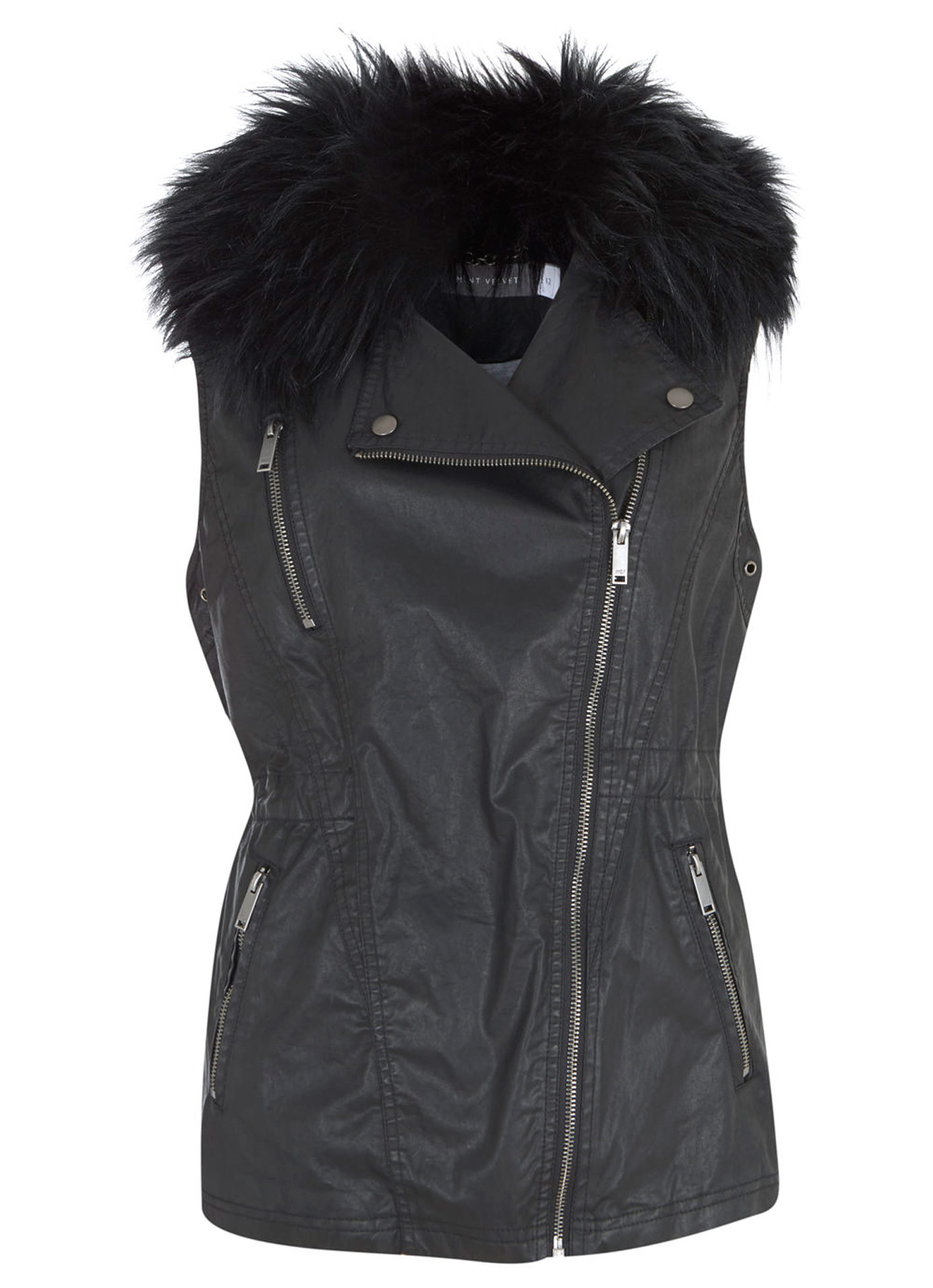Mint Velvet, Black Waxed Faux Fur Gilet £119