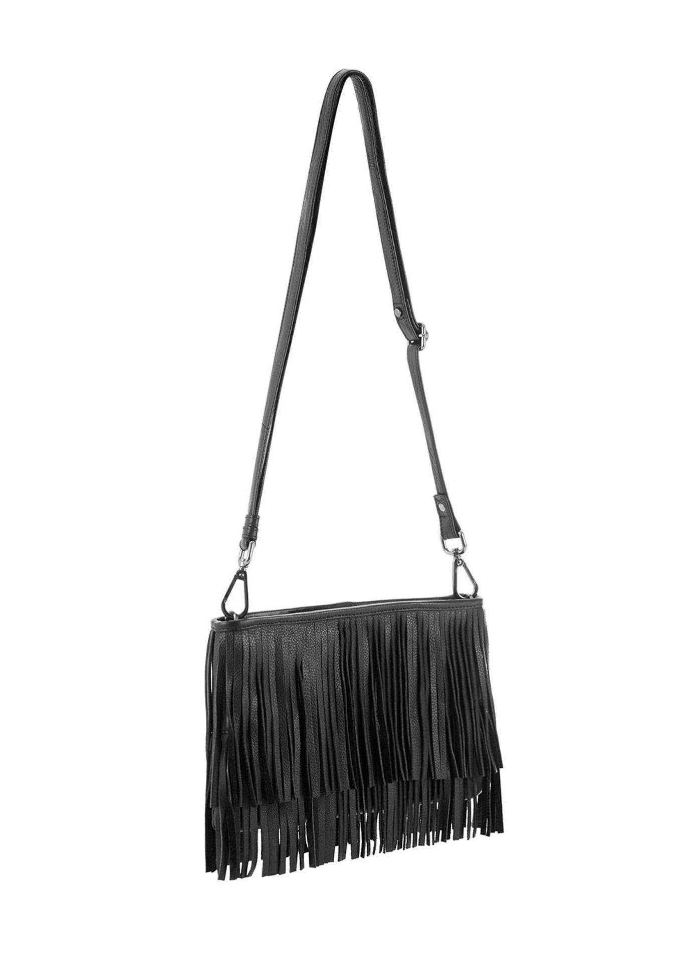 Mint Velvet, Black Lyra fring Cross Body Bag £99