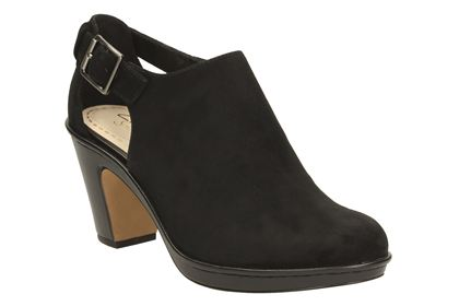 A bit of a twist with a shoe boot and open back buckle. Also available in Grey.  Clarks, £50