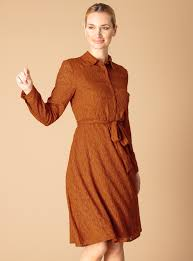 Premium Brown Belted Jacquard Shirt Dress, £32