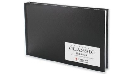 "Cachet Classic Black Cover Sketchbook:  8½"" × 5½"", 110 Sheets. Click to find at Blicks. Not currently an affiliate link,"